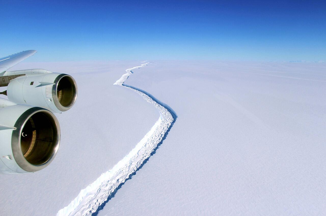 Ανταρκτική ρωγμή παγετώνα αεροφωτογραφία
