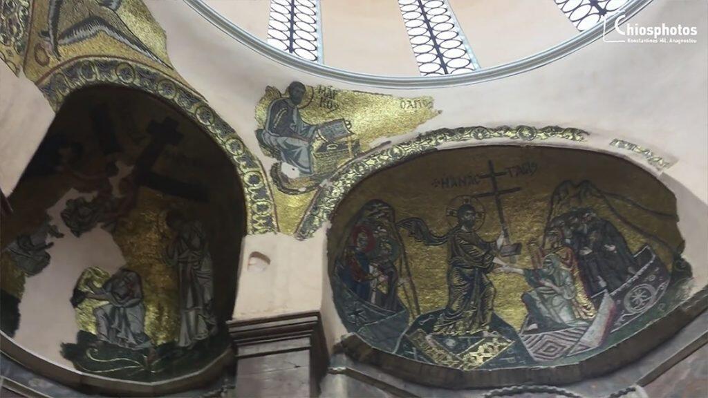Χίος νέα μονή εσωτερικό τοιχογραφίες