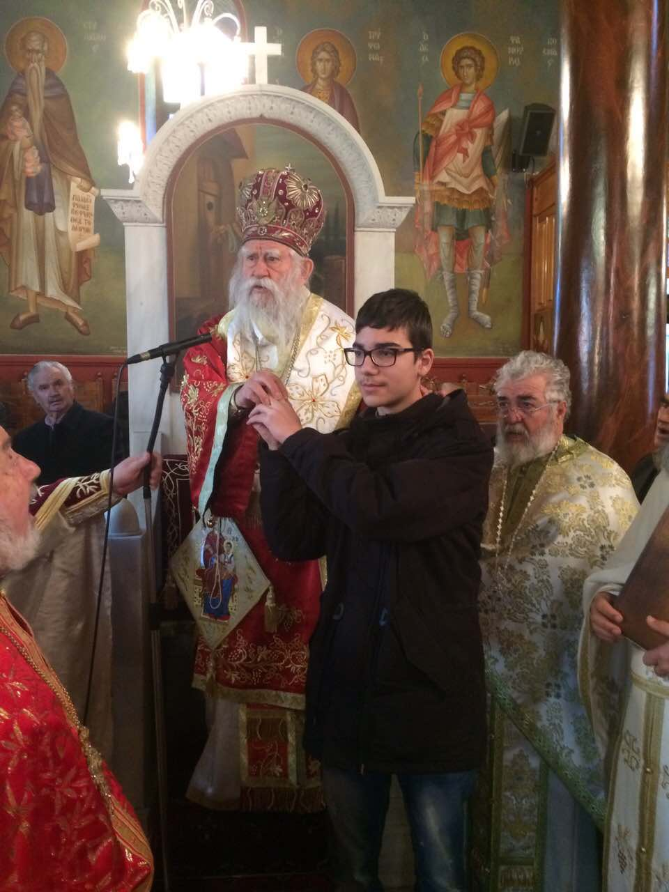Χειροθεσία νέου Αριστομένη Κωνσταντόπουλου Ιερός ναός Αγίου Τρύφωνος Αμαλιάδας
