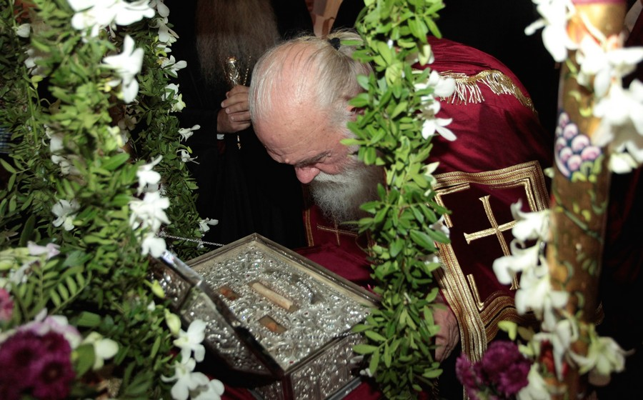 Ο Αρχιεπίσκοπος Ιερώνυμος στην Αγία Σοφία Ψυχικού