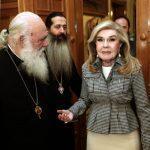 Συγκινημένη για την συνάντησή της με τον Αρχιεπίσκοπο η Μαριάννα Βαρδινογιάννη