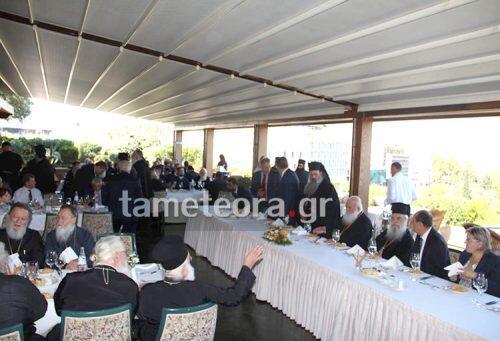 Γεύμα στον Αρχιεπίσκοπο παρέθεσε ο νέος Μητροπολίτης Σταγών και Μετεώρων