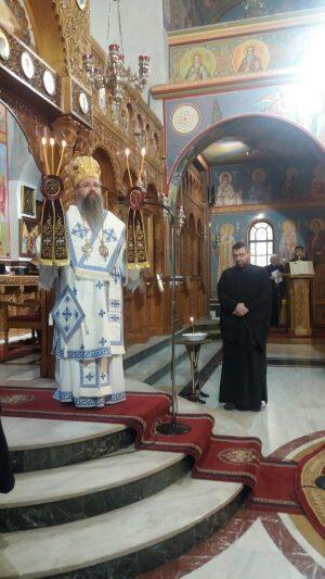 Ο Λευκάδος Θεόφιλος στον Ιερό Ναό Αγίων Κωνσταντίνου και Ελένης Μοσχάτου.
