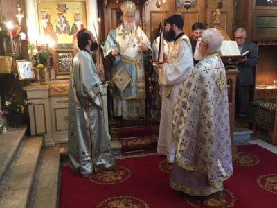 Ο Κερκύρας Νεκτάριος στον Ι.Ν. Αγίων Αποστόλων στο χωριό Κομπίτσι