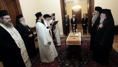 Φωτορεπορτάζ: Οι Μητροπολίτες Θεόκλητος και Στέφανος έδωσαν την νενομισμένη διαβεβαίωση ενώπιον του Προέδρου της Δημοκρατίας