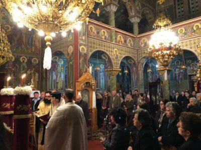 Ο Θηβών Γεώργιος στον Ιερό Ναό του Αγίου Σπυρίδωνος Οινοφύτων
