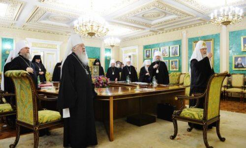 Ο Μόσχας Κύριλλος στην πρώτη συνεδρία της Ιεράς Συνόδου του έτους 2018