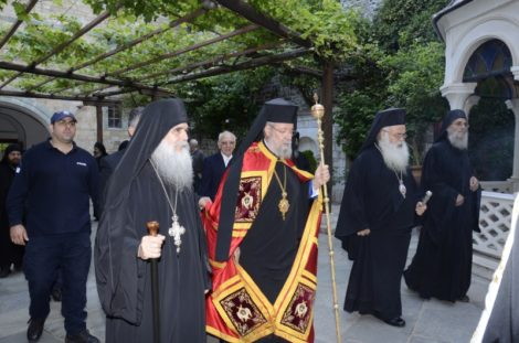 Άγιο Όρος: Ο Αρχιεπίσκοπος Κύπρου με την αδελφότητα της Μονής Γρηγορίου