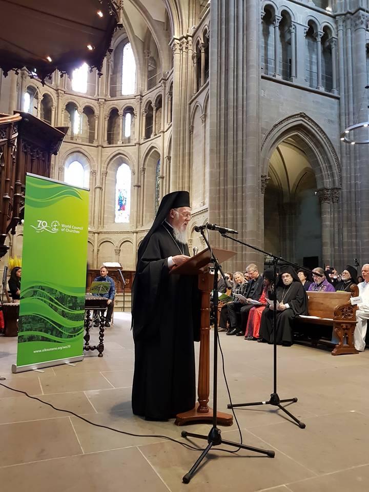 Ο Οικ. Πατριάρχης στη Γενεύη για τους Εορτασμούς των 70 χρόνων του Π.Σ.Ε.