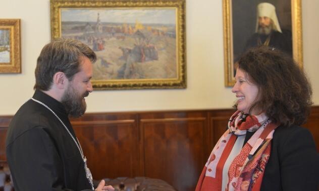 Συνάντηση του Μητροπολίτη Ιλαρίωνα με την Πρέσβειρα της Γαλλίας στη Ρωσία