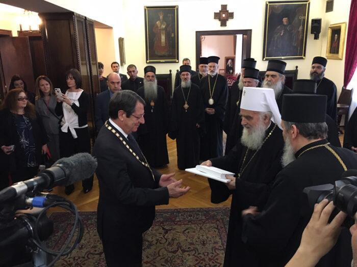 Ο Σερβίας Ειρηναίος προσέφερε στον Πρόεδρο της Κυπριακής Δημοκρατίας το Παράσημο του Τάγματος του Αγίου Σάββα