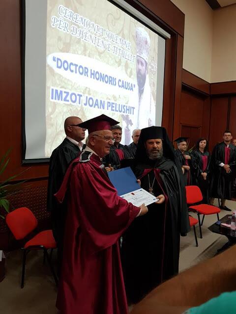 Ο τίτλος «Επίτιμος Διδάκτωρ» απονέμεται στον Μητροπολίτη Κορυτσάς από το Πανεπιστήμιο «Φαν Νόλι»