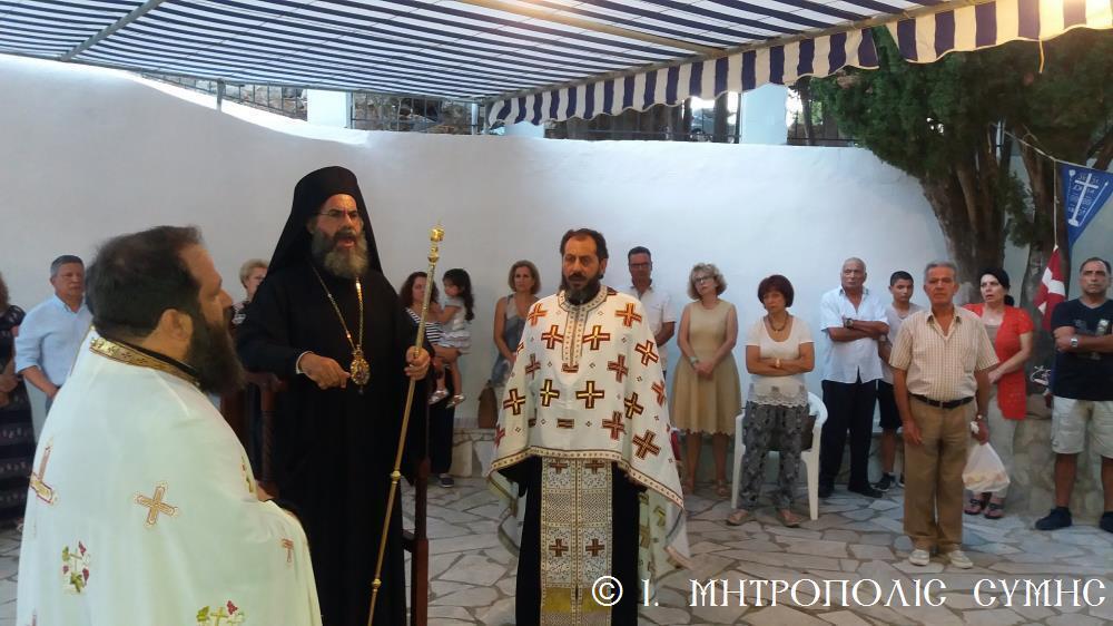 Ο Μητροπολίτης Χρυσόστομος στον Ευαγγελισμό και Άγιο Φανούριο Σύμης