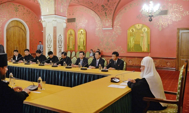 Συνάντηση Πατριάρχη Κυρίλλου με τον Πρόεδρο της Ορθοδόξου Χριστιανικής Επιτροπής της ΛΔΚ