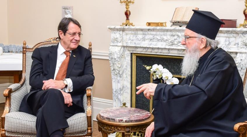 Συνάντηση του Προέδρου της Κύπρου με τον Αρχιεπίσκοπο Αμερικής Δημήτριο