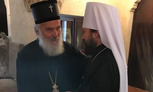 Συνάντηση Ιλαρίωνα με τον Προκαθήμενο και μέλη της Ιεράς Συνόδου της Εκκλησίας της Σερβίας