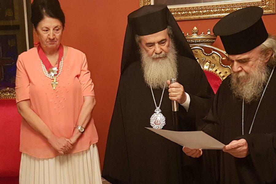 Ο Πατριάρχης Ιεροσολύμων παρασημοφορεί την Πρέσβυ της Κύπρου στην Ιορδανία