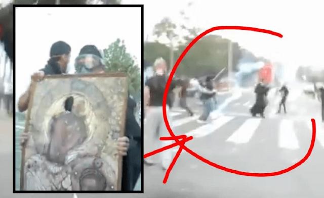 Εικόνες ντροπής από επίθεση σε εικόνα της Παναγίας Πορταϊτισσας στο συλλαλητήριο της Θεσσαλονίκης