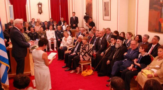 Μητροπολίτες Μεσσηνίας και Μάνης στην τελετή ανακήρυξης του Γερμανού Προέδρου σε Επίτιμο Δημότη Καλαμάτας